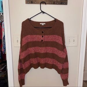 American Eagle XL pink and brown crop sweater